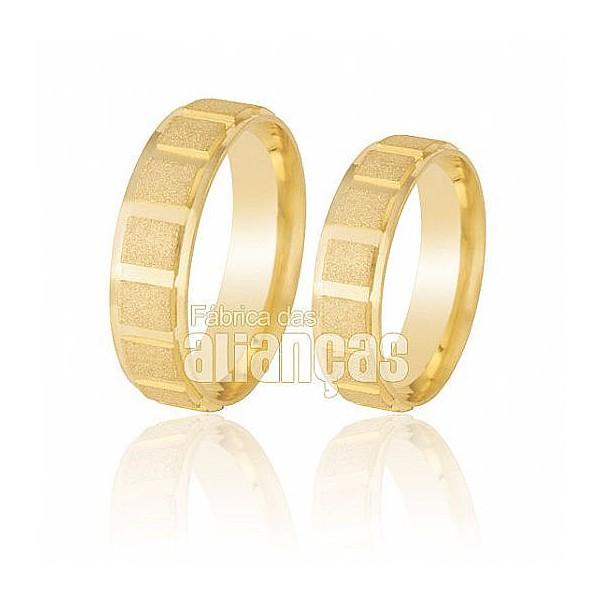 Alianças de Noivado e Casamento em Ouro Amarelo 18k 0,750 FA-208