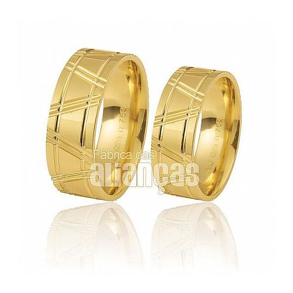 Alianças de Noivado e Casamento em Ouro Amarelo 18k 0,750 FA-210