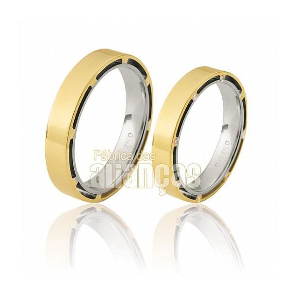Alianças de Noivado e Casamento em Ouro Amarelo 18k 0,750 FA-371