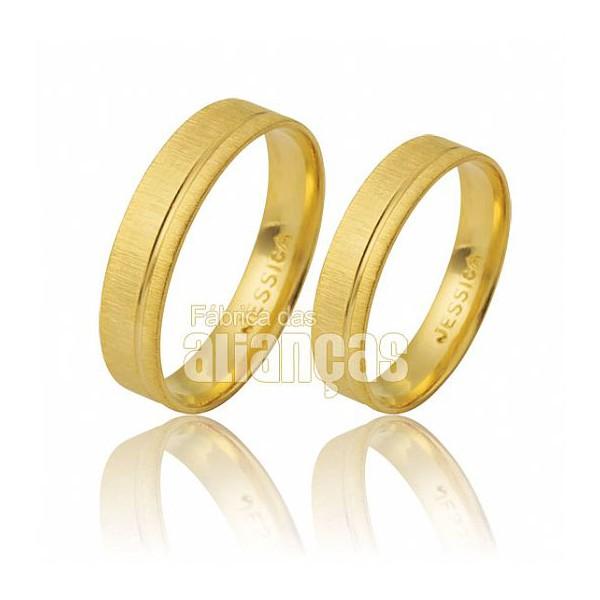 Alianças de Noivado e Casamento em Ouro Amarelo 18k 0,750 FA-474