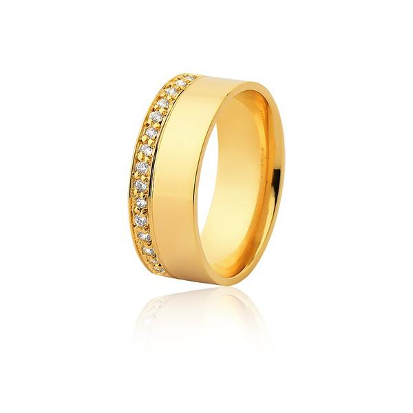 Aliança 14 Diamantes 0,01pontos Ouro Amarelo 18k (7,00mm)
