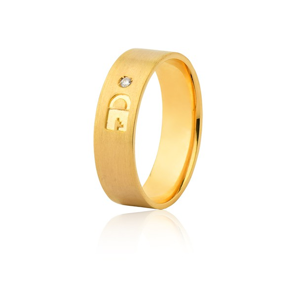 Aliança 01 Diamante 0,01pontos Ouro Amarelo 18k (6,00mm)
