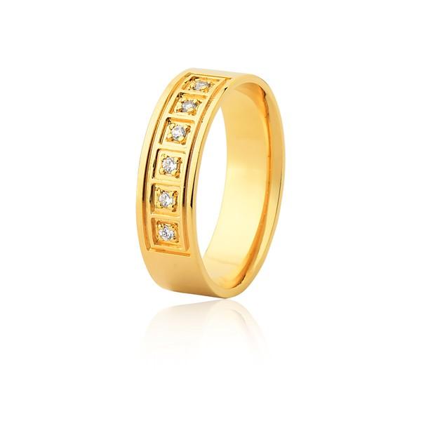 Aliança 06 Diamantes 0,01pontos Ouro Amarelo 18k (6,00mm)