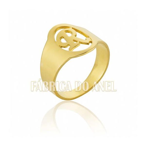 Anel Masculino Em Ouro Amarelo 18k 0,750 A-08