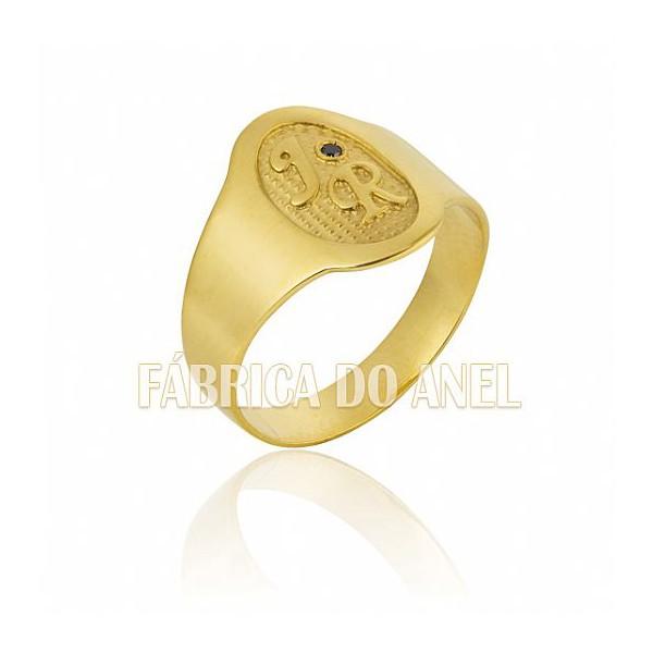 Anel Masculino Em Ouro Amarelo 18k 0,750 A-09