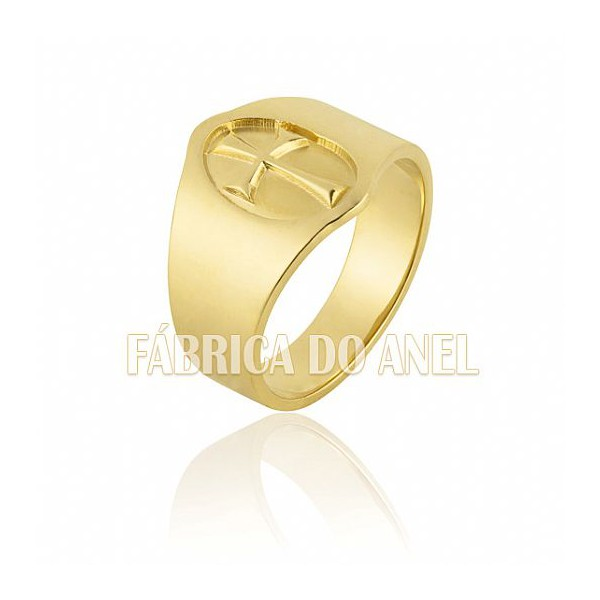 Anel Masculino Em Ouro Amarelo 18k 0,750 A-13