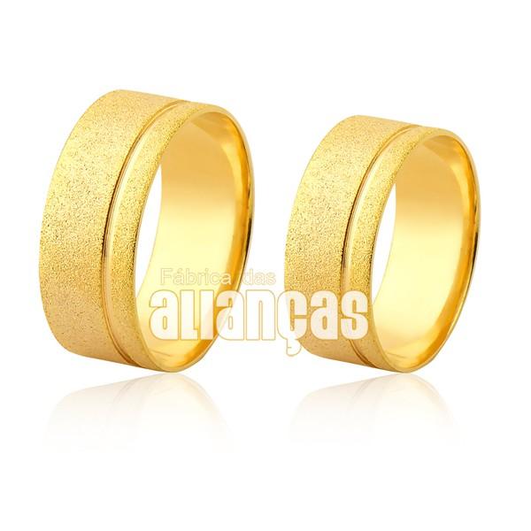 Par de Alianças diamantado de ouro 18 k