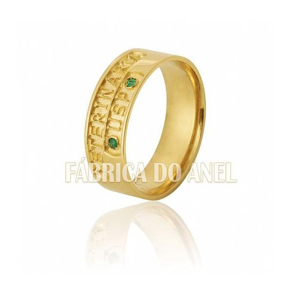 Anel de Formatura em Ouro Amarelo 18k 0,750 FA-600-N