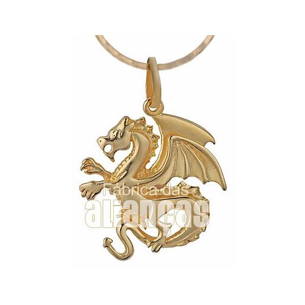 Pingente Exclusivo De Dragão Em Ouro Amarelo 18k