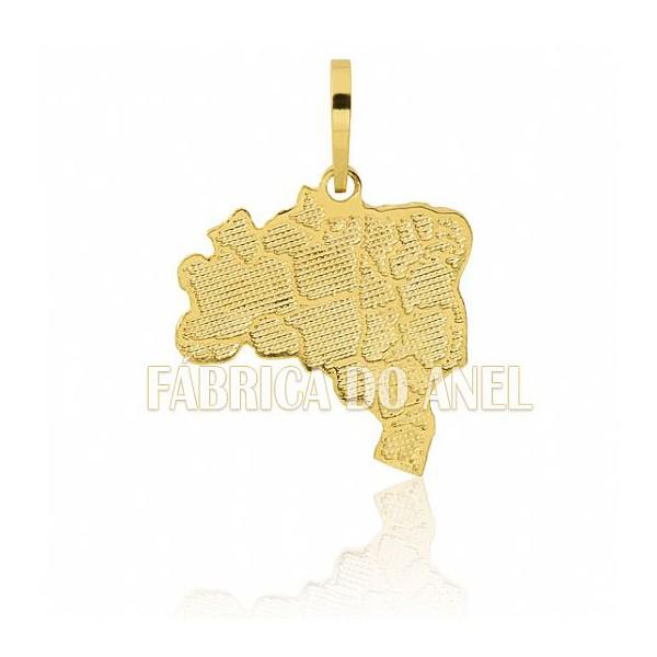 Pingente Exclusivo de Mapa do Brasil em Ouro Amarelo 18k 0,750 FA-P-158