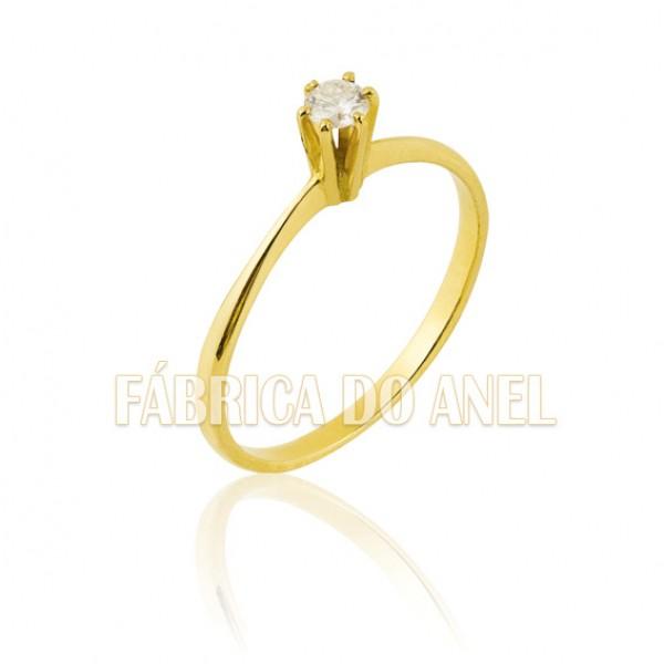 Anel de noivado de ouro 18k com pedra sintetica
