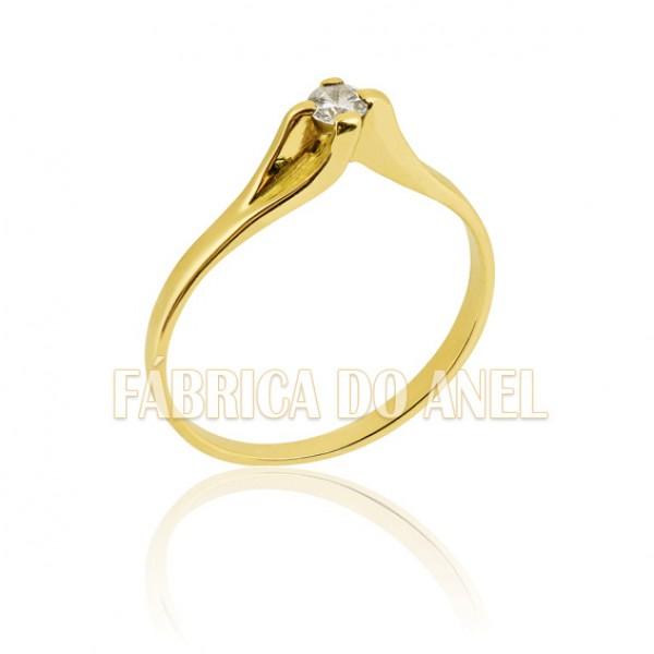 Anel Solitário de ouro 18k com Zirconia de 3,00 mm