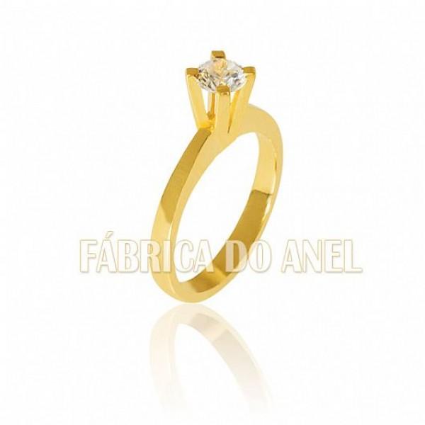 Anel Solitário de ouro com Zirconia