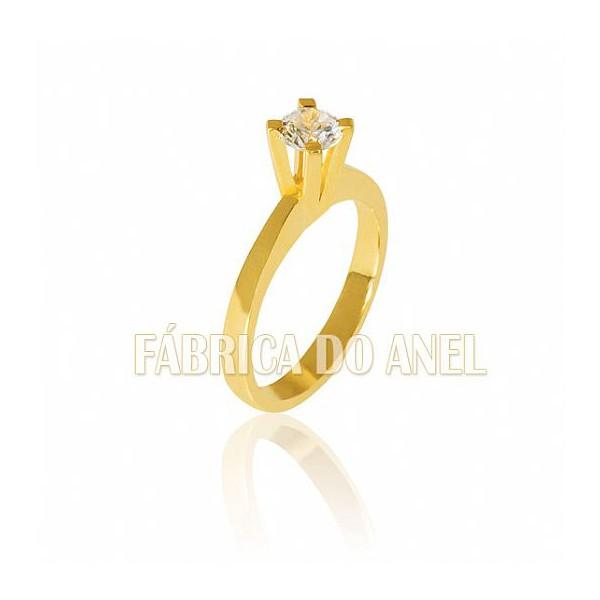 Anel Solitário De Ouro Com Diamante De 0,50 Pontos