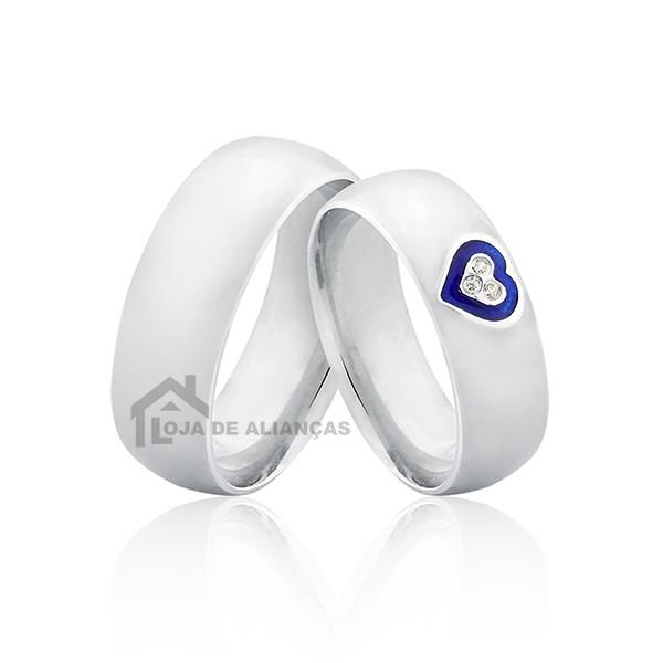 Alianças de Compromisso em Prata com Coração Azul