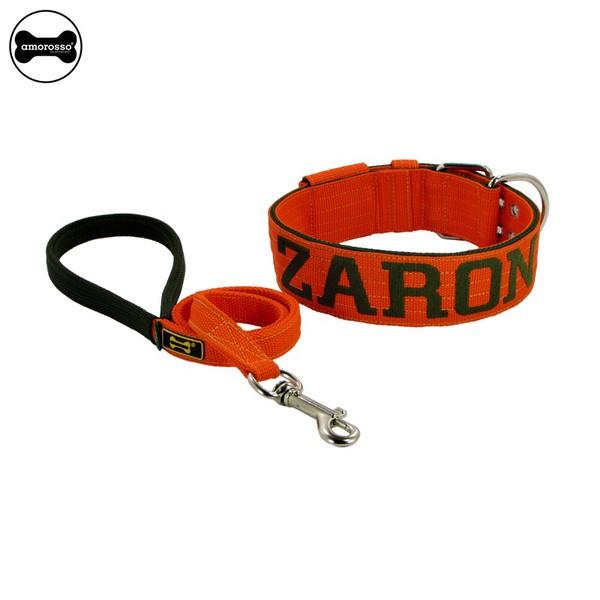 Coleira Para Cachorro Personalizada + Guia Curta 80cm (laranja e verde militar)