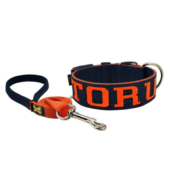 Coleira Para Cachorro Personalizada + Guia de Passeio (azul marinho e laranja)