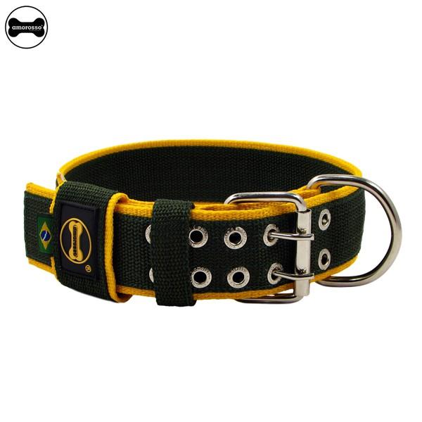 Coleira Para Cachorro Amorosso Slim (verde militar e amarelo)