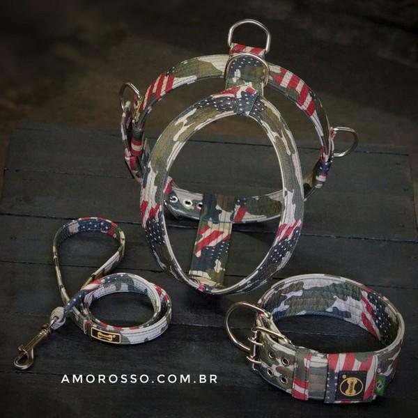 Kit Amorosso Camuflado USA (Peitoral + Coleira + Guia)