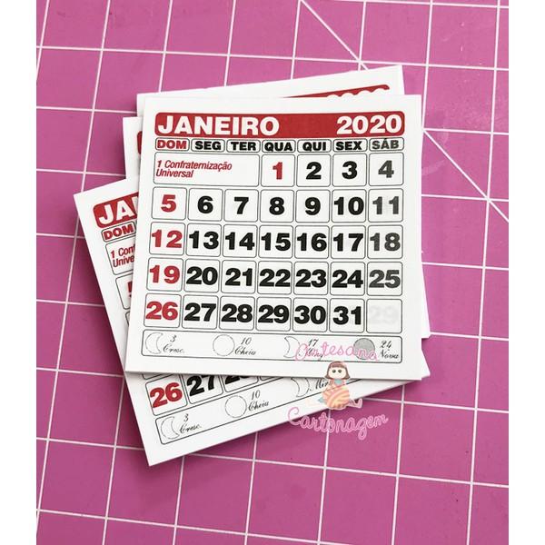 REFIL MINI CALENDÁRIO 2020 5x5 - 10 UNIDADES