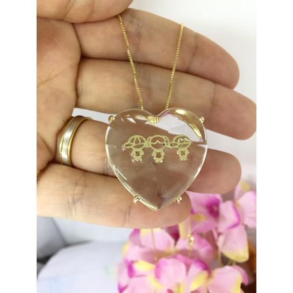 Colar Pedras Personalizadas Banhada a Ouro