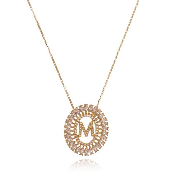 Mandala Zircônia Navete Com Inicial Banhada a Ouro