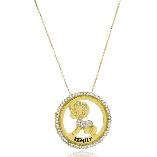 Mandala Zircônias personalizadas Com 1 ou 2 Filhos Banhada a Ouro