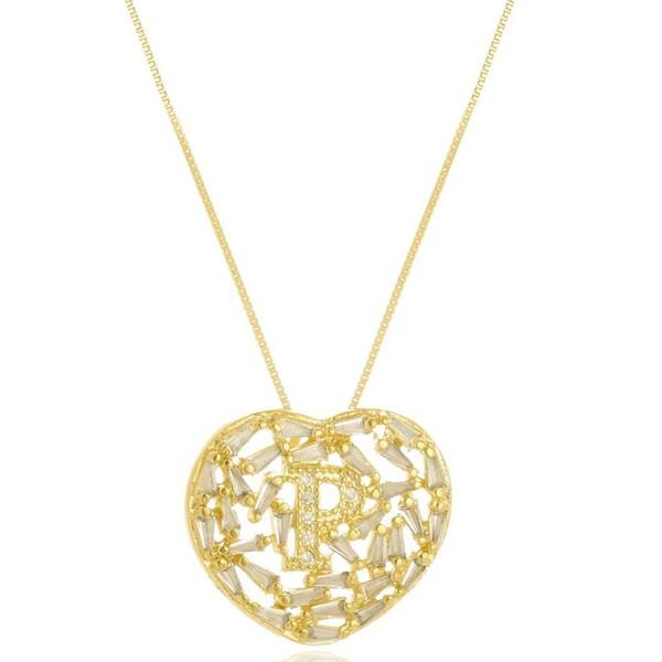 Mandala Zircônia Navete Com Inicial Cravejada Banhada a Ouro
