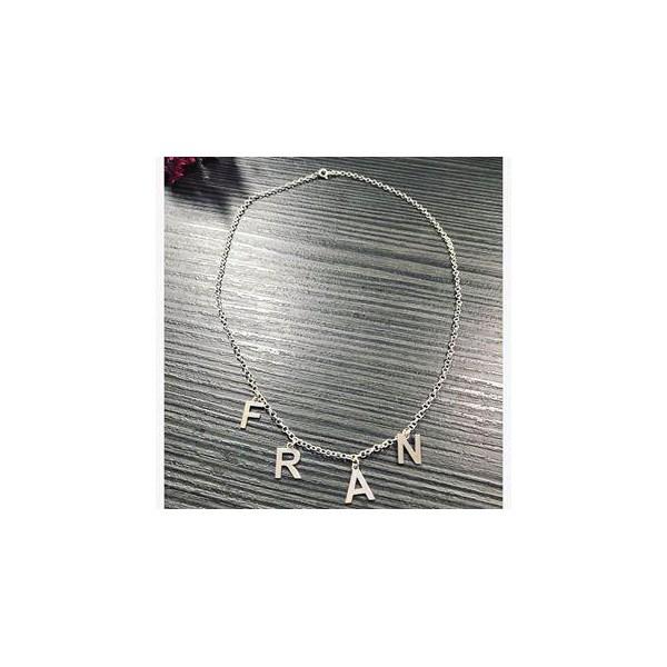 Colar Letras em Prata 925 Com Até 8 Letras Penduradas