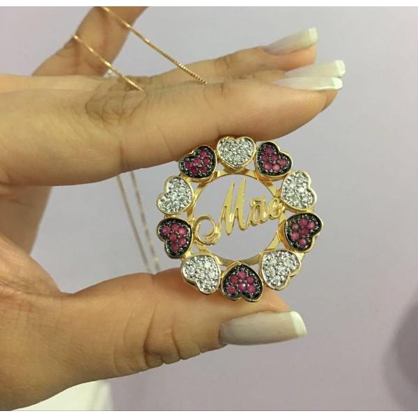 Mandala Personalizada Banhada a Ouro Com Corações Cravejados