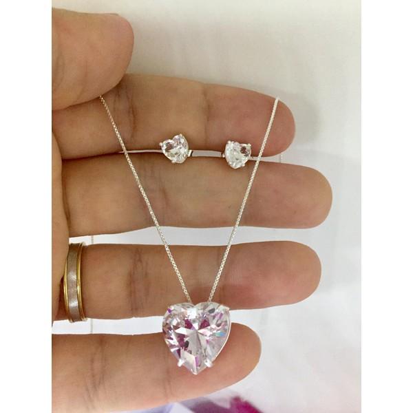 Conjunto pedra coração em prata 925