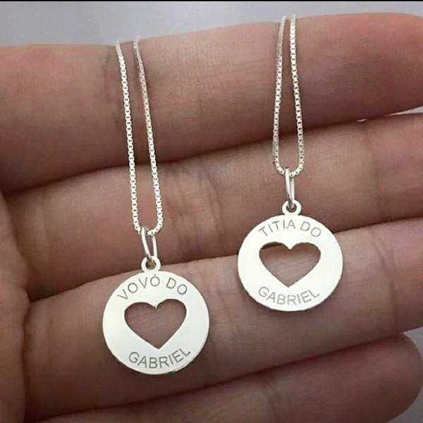 Colar Redondo Coração Em Prata 925 Personalizado
