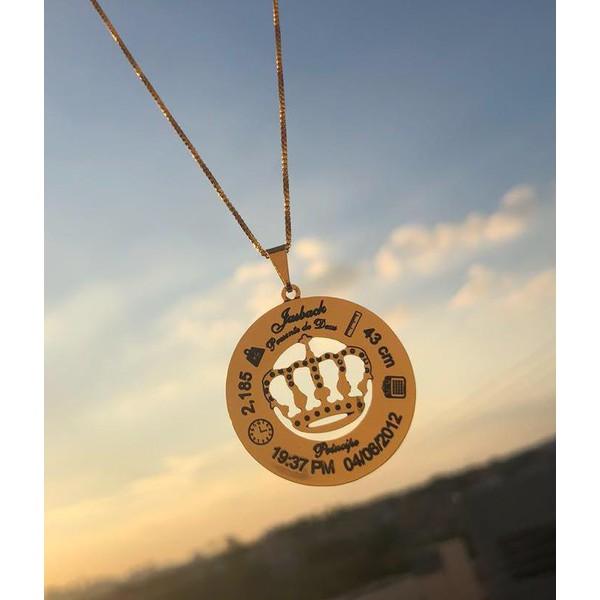 Colar mandala banhada a ouro coroa nascimento