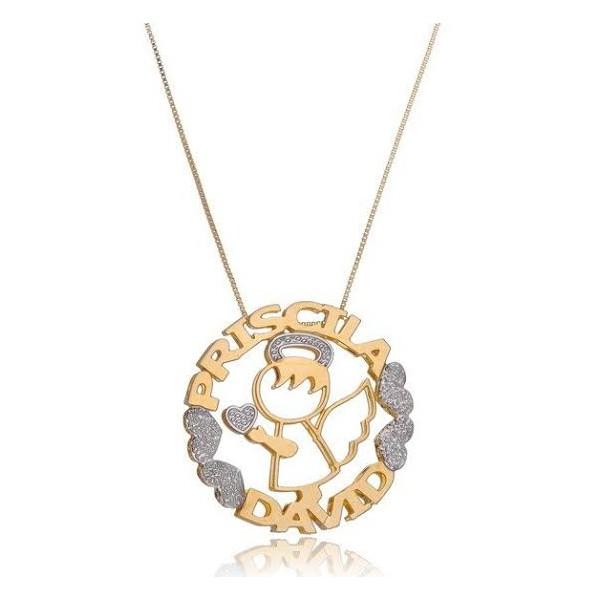 Gargantilha Mandala Dupla Em Banho de Ouro Personalizada Anjinho
