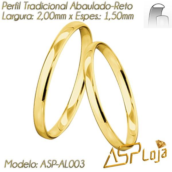 AL003-Aliança de Casamento Tradicional de Ouro 18K