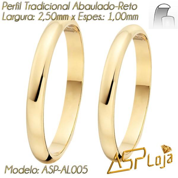 AL-005-Aliança Tradicional de Casamento ou Noivado Ouro 18K