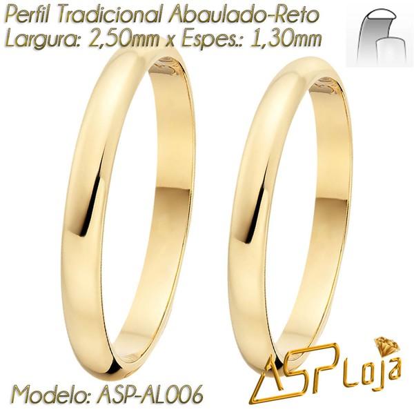 AL-006-Aliança de Casamento Tradicional de Ouro 18K