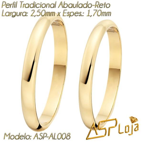 AL008-Aliança de Casamento ou Noivado Ouro 18K Abaulada Reta