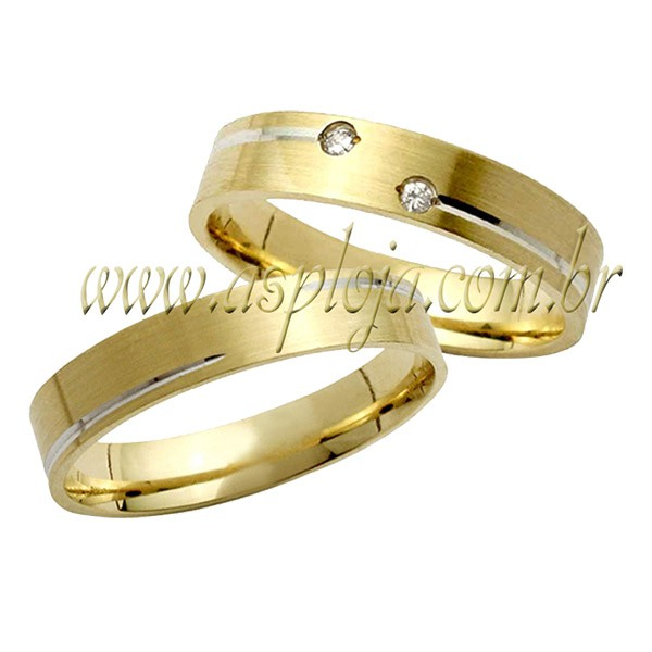 Aliança reta anatômica com 2 diamantes de 1.0 pt ouro amarelo 18K-750 largura 4,00mm-ASP-AL55