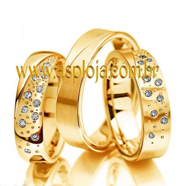 Aliança agregada de casamento ou noivado em ouro amarelo 18K liga 750 interno anatomica externo reta largura 5,5mm-ASP-AL-08