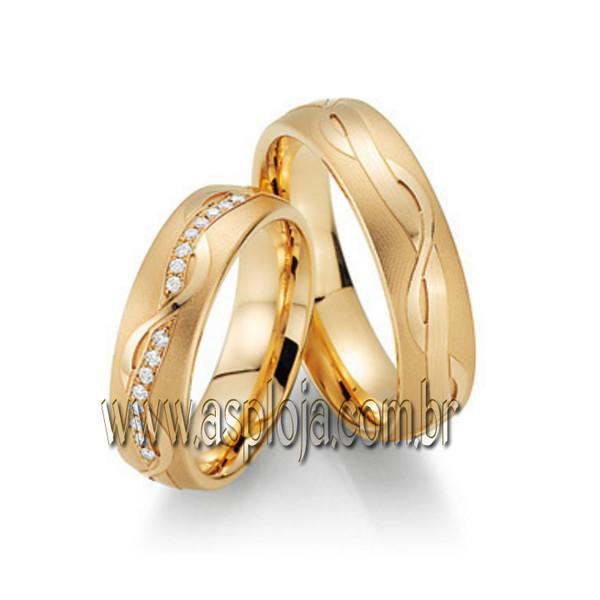 Par de Aliança de casamento ou noivado com linhas onduladas anatômica em ouro 18K-750 largura 6,0 mm-ASP-AL-106