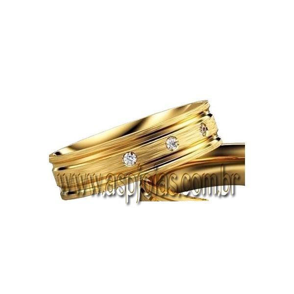 Aliança de casamento ou noivado em ouro 18K-750 largura 6,0 mm-ASP-AL-109