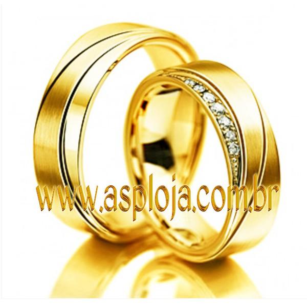 Aliança de casamento ou noivado onde os caminhos se cruzam ouro amarelo 18K 750 anatomica largura 6,0mm-ASP-AL-12