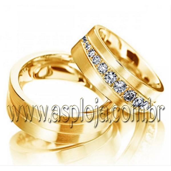 Par de aliança Condensada de diamantes em ouro amarelo 18K 750 de casamento ou noivado largura 8,0mm-ASP-AL-24