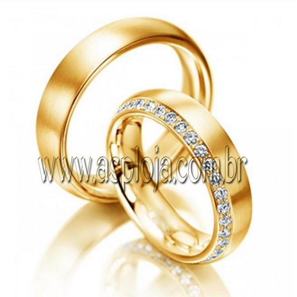 Aliança Condensada de diamantes em ouro amarelo 18K 750 de casamento ou noivado largura 8,0mm-ASP-AL-25