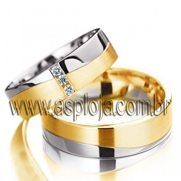 Aliança de casamento ou noivado duo color de diamantes em ouro amarelo 18K 750 largura 5,5mm-ASP-AL-27