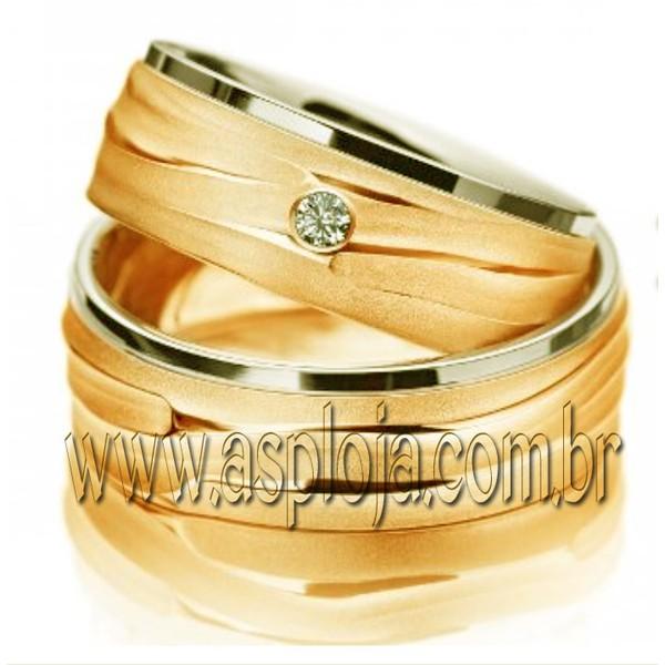 Aliança de casamento dois tons em forma de areia com um brilhante personalizado em ouro amarelo 18K 750 largura 5,5mm-ASP-AL-28