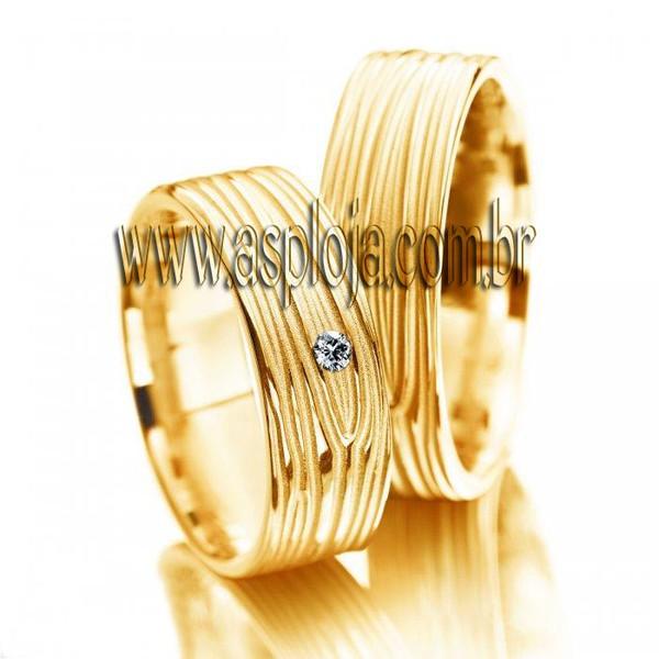 Aliança Individual de casamento ou noivado com brilhante personalizado em ouro amarelo 18K 750 largura 5,5mm-ASP-AL-29