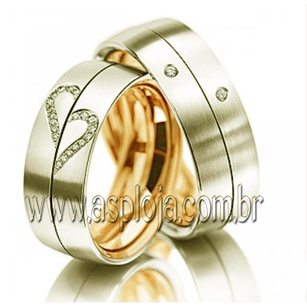 Aliança duo color Simbolics de casamento ou noivado brilhante personalizado em ouro amarelo 18K 750 largura 8,0mm-ASP-AL-97