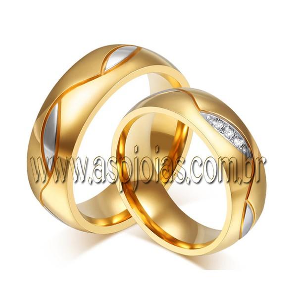 Aliança duo color de casamento ou noivado com brilhante personalizado em ouro amarelo 18K 750 largura 8,0mm-ASP-AL-98